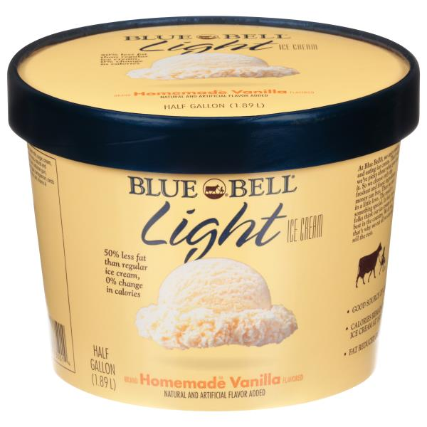 Blue Bell Ice Cream, Light, Homemade Brand Vanilla flavored