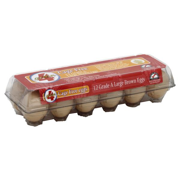 4 Grain Cage Free Eggs, Brown, Grade A, Large