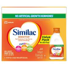 Similac Sensitive Infant Formula, with Iron, Milk-Based, Ready to Feed, Stage 1 (Birth-12 Months)