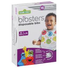 Bibsters Bibs, Disposable, L/G (6 M+), Sesame Street