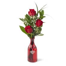 Triple Rose Buds with Vase