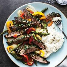 Chimichurri Skirt Steak with Potatoes, Asparagus, Peppers & Onions