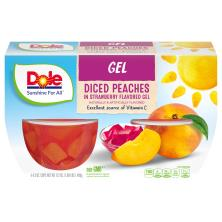 Dole Peaches, in Strawberry Gel, Cups