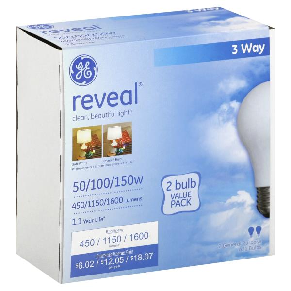 GE Reveal Light Bulbs, 3 Way, 50/100/150 Watts, Value Pack