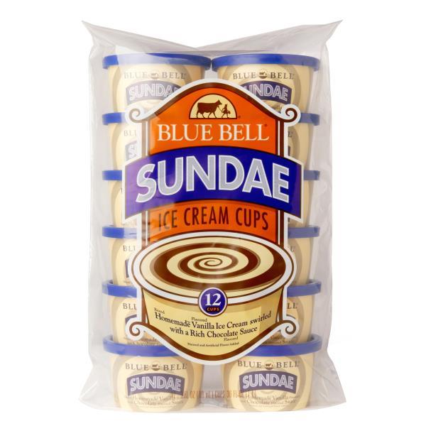 Blue Bell Ice Cream Cups, Sundae, 12 Cups : Publix com