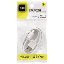 RCA Cable, Charge & Sync, Micro USB, 3 Foot