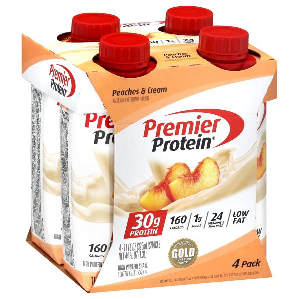 Protein Shaker Near Me: Premier Protein High Protein Shake, Peaches & Cream, 4