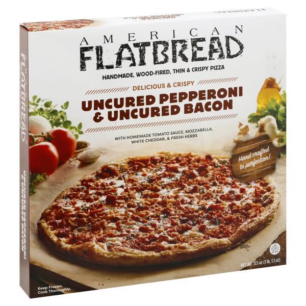 American Flatbread Pizza, Uncured Pepperoni & Uncured Bacon, Delicious & Crispy