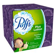 Puffs Facial Tissues, Plus Lotion, White, 2-Ply