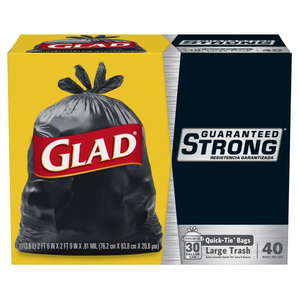Glad Trash Bags Strong Quick Tie Large 30 Gallon