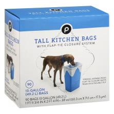 Publix Tall Kitchen Bags, Flap-Ties, 13 Gallon