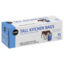 Publix Tall Kitchen Bags, with Flap-Ties Closure System, 13 Gallon