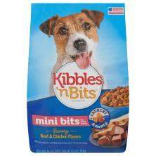 Kibbles N Bits Dog Food, Savory Beef & Chicken Flavors, Small Breed Mini Bits, Bonus Bag!