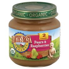 Earths Best Organic Pears & Raspberries, 2 (6 Months+)