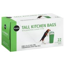 Publix Tall Kitchen Bags, with Drawstring Closure System, 22 Gallon