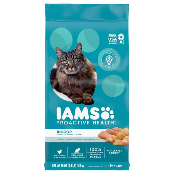 Iams ProActive Health Cat Nutrition, Premium, Indoor Weight & Hairball Care, 1+ Years