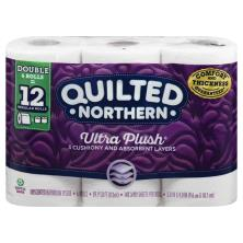 Quilted Northern Bathroom Tissue, Unscented, Ultra Plush, Double Rolls, 3-Ply