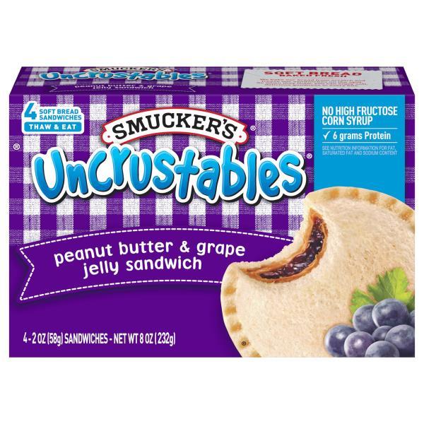 Smuckers Uncrustables Sandwich, Peanut Butter & Grape Jelly