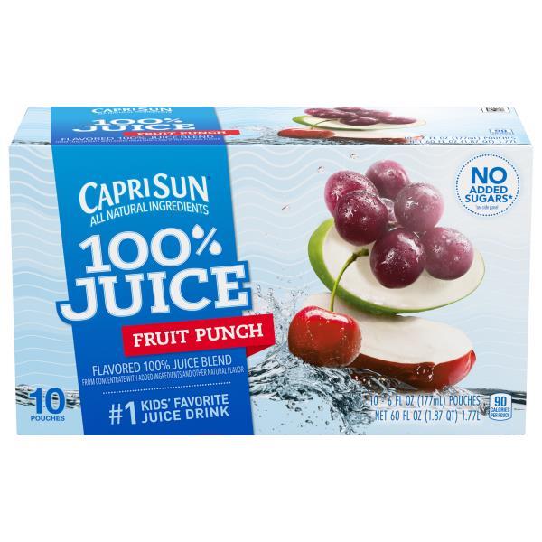 Capri Sun 100% Juice Blend, Fruit Punch Flavored