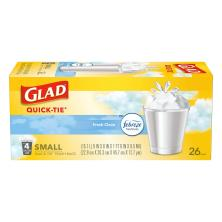 Glad Odor Shield Trash Bags, Quick-Tie, Small, Fresh Clean, 4 Gallon