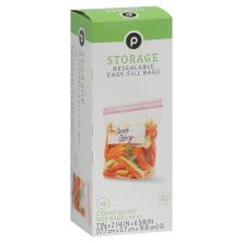 Publix Storage Bags, Resealable, Quart Size
