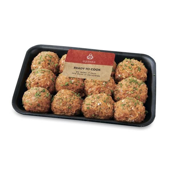 Aprons Seasoned, Ground Turkey Meatballs Prepared Fresh In-Store