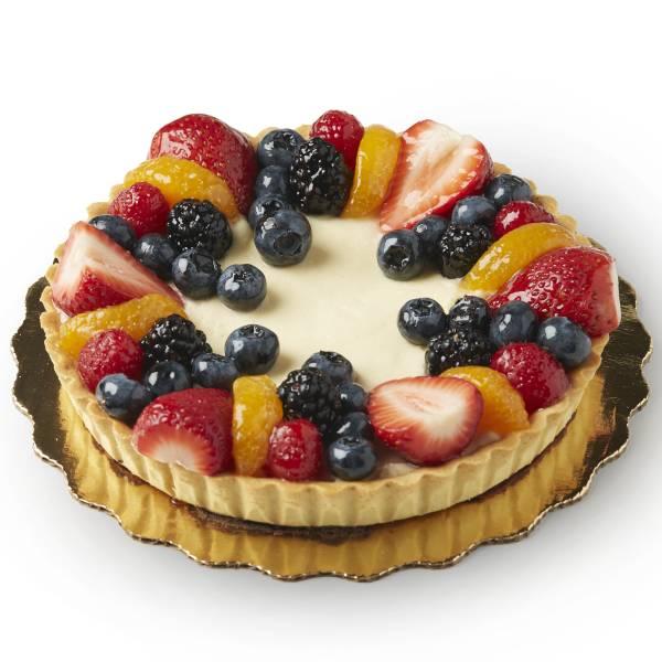 Round Vanilla Cream Fruit Tart