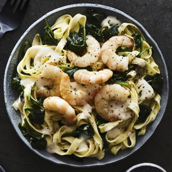 Broiled Shrimp with Fettuccini Alfredo Florentine