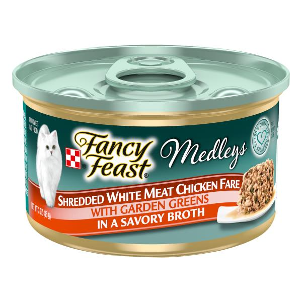 Fancy Feast Medleys Cat Food, Gourmet, Shredded White Meat Chicken Fare with Garden Greens in a Savory Broth