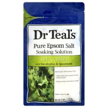 Dr Teals Soaking Solution, Pure Epsom Salt, Relax & Relief, with Eucalyptus & Spearmint