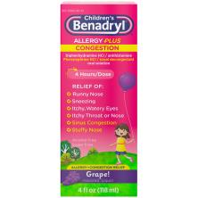 Benadryl Children's Allergy Plus Congestion, Oral Solution, Grape Flavored Liquid