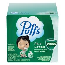 Puffs Facial Tissue, Plus Lotion, White, with the Scent of Vicks, 2-Ply