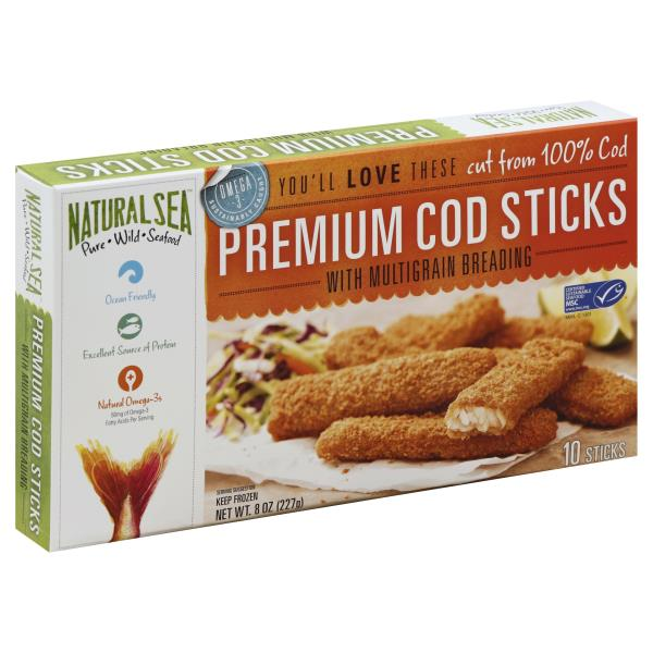 Natural Sea Cod Sticks, Premium, with Multigrain Breading