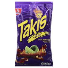 Takis Tortilla Chips, Fuego, Hot Chili Pepper & Lime, Extreme