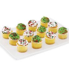 Mini Vanilla Christmas Cupcakes