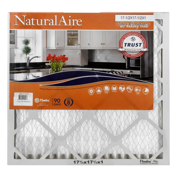 NaturalAire Air Cleaning Filter, Odor Eliminator w/Baking Soda, 17-1/2 x 17-1/2 x 1