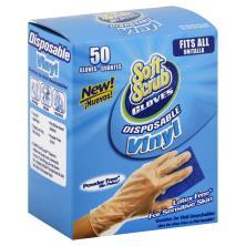 Soft Scrub Gloves, Disposable, Vinyl, Fits All