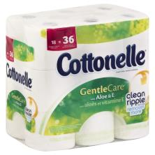 Cottonelle GentleCare Toilet Paper, Double Rolls, with Aloe & E, 1-Ply