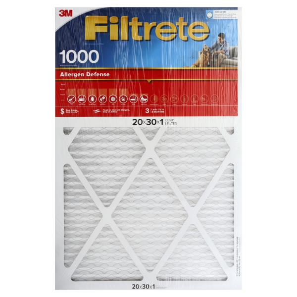 Filtrete Allergen Defense Air Cleaning Filter, Electrostatic, Micro, 20 x 30 x 1