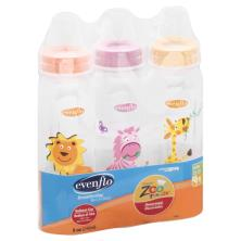 Evenflo Classic Zoo Friends Bottles, Slow Flow, Decorated, 8 oz, 1 0-3 m