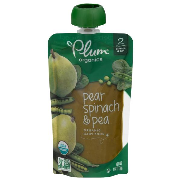 Plum Organics Baby Food, Organic, Pear, Spinach & Pea, 2 (6 Months & Up)