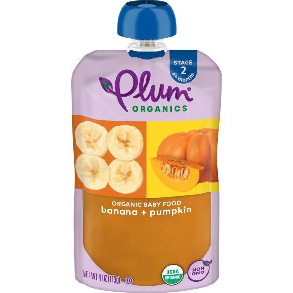 Plum Organics Baby Food, Organic, Banana & Pumpkin, 2 (6 Months & Up)
