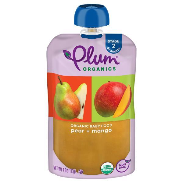 Plum Organics Baby Food, Organic, Pear & Mango, 2 (6 Months & Up)