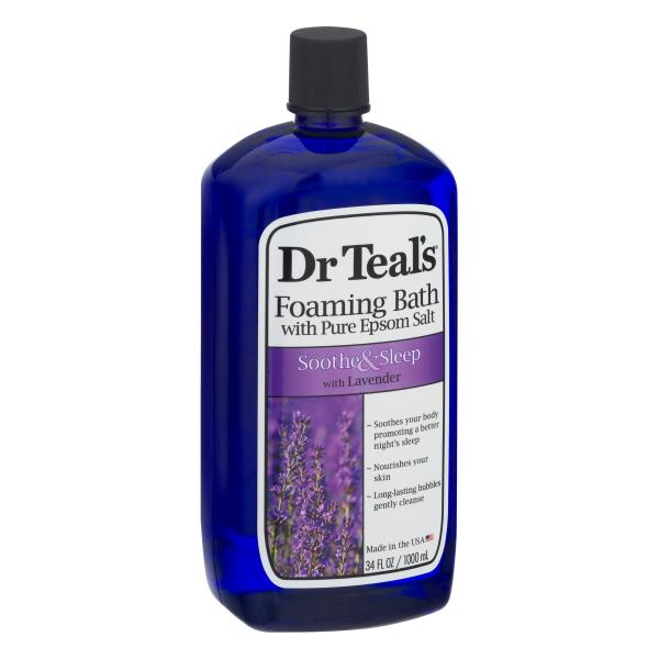 Dr Teals Foaming Bath, Pure Epsom Salt, Soothe & Sleep with Lavender