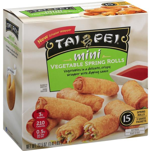 Tai Pei Vegetable Spring Rolls, Mini, Keep Frozen, Fully Cooked