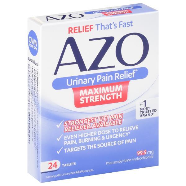 Azo Urinary Pain Relief, Maximum Strength, 97 5 mg, Tablets : Publix com