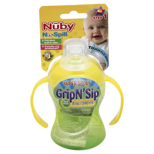 Nuby No-Spill Cup, Super Spout, Grip N' Sip, 8 oz, Step 1 (4M+)