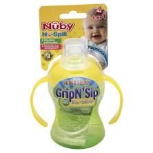 Nuby No-Spill Cup, Super Spout, Grip N' Sip, 8 oz, Step 1 (4M+)
