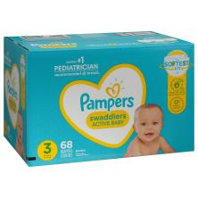 Pampers Swaddlers Diapers, Size 3 (16-28 lb), Blankie Soft Heart Quilts, Super Pack