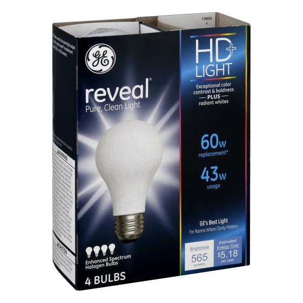 GE Reveal HD+ Light Light Bulbs, Enhanced Spectrum Halogen, 43 Watts